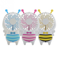 Wholesale force wind - Bee Style Hand USB Fan 2-level Wind Force & 7-blade Gradient LED Handheld Mini Fan 2018 Fans