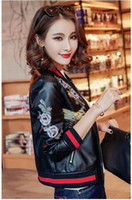 Wholesale leather baseball jacket women - 2018 autumn women street black flower printing pu leather baseball jacket long sleeve Plus size luxury bomber jacket