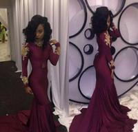 robes de mode arabe pour les femmes achat en gros de-Mode Femmes Vin Rouge Robe De Bal Sexy South African Gold Appliques Longue Formelle Soirée De Robe De Robe Sur Mesure Plus La Taille Arabic Wear