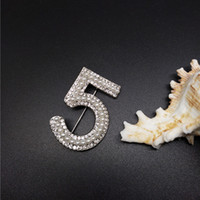 Wholesale cc brooch wholesale - Gold&Silver New Brand Brooches Letter 5 Full Crystal Rhinestone cc Brooch Pins For Women Party Flower Number Brooches Jewelry
