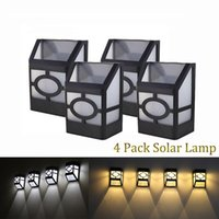 Wholesale Outdoor Power Pack - 4 pack Solar Wall Lamp 2LEDs Solar Powered LED Solar Light Waterproof Outdoor Garden Light Security Lighting Yard Path Fence Lamp