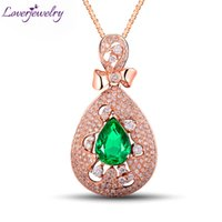 изумрудная форма оптовых-1.68Ct Pear Shaped Gemstone Настоящий бриллиант Изумрудный кулон Solid 18K / 750 Rose Gold Fine Jewelry для продажи WU267