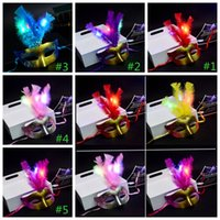 Wholesale flower decoration beads online - Glowing party mask Mini LED Feather Mask Halloween Decoration Venetian Masquerade Flower Beads Princess Party Masks GGA1056