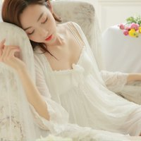 Wholesale Princess Chest - Female summer Sexy pajamas Princess perspective deep V mesh piece lace straps pajamas Contains Adult nightgown with a chest pad