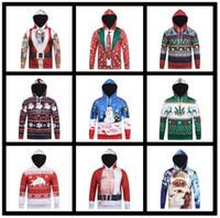 ciervos sudaderas al por mayor-Navidad 3D Print Men Boy Hoodie 9 Estilos Muñeco de nieve Deer Elk Sweatshirt Pullover Jumpers Xmas Overcoat Tops OOA5475