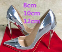 751af7df18c7 2018 New Brand 12cm Ultra-fine Pointed Toe Red Bottom Silver High-heeled  Shoes Patent Leather Shallow Mouth Bridal Dress Wedding Shoes Women
