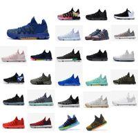 кд баскетбольная обувь средней величины оптовых-Дешевые мужские KD 10 баскетбольная обувь для продажи MVP синий золотой красный зеленый черный цветочный BHM KDS Kevin Durant x mid Top кроссовки сапоги KD10 с коробкой