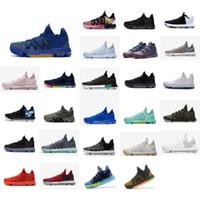 zapatos kd medio negro al por mayor-Zapatillas de baloncesto KD 10 baratas para hombre a la venta MVP Azul Dorado Rojo Verde Negro Floral BHM kds Kevin Durant x mediados de zapatillas altas botas KD10 con caja
