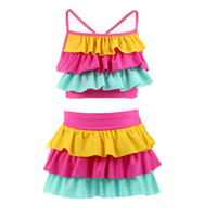Wholesale girls layered skirts - Children Candy colors Swimwear outfits girls Layered top+skirts 2pcs set cartoon 2018 summer Bikini Kids Swimsuit 3 colors C3872