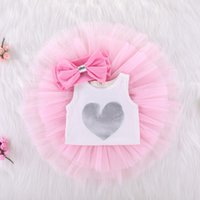 Wholesale onesie dresses - Mikrdoo 3PCs Baby Girls Birthday Tutu Onesie Skirt Dress Sleeveless Top +tutu dress +Headband Outfit Girls Clothing