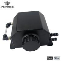 PQY Universal 2L Aluminum Oil Catch Can Reservoir Tank With Drain Plug Breather Oil Tank Fuel Tank