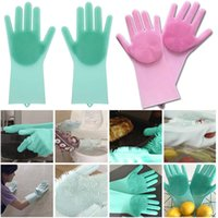 Wholesale garden tools wholesalers for sale - Practical Silicone Cleaning Glove Thicken Five Fingers Magic Washing Gloves For Kitchen Bed Bathroom Tool Hot Sale ym BB