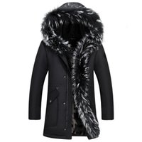 Wholesale duck big - Men Down Jacket Winter Long Coat Duck Down Parkas Real Raccoon Fur Collar Snow Windbreaker Warm Thick Cashmere Tops 5XL Big Size
