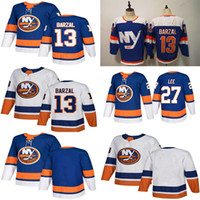 new york islander hokeyi mayo toptan satış-New York Islanders Üçüncü Mavi 13 Mathew Barzal Jersey 27 Anders Lee Denis Potvin Hokeyi Formalar
