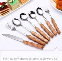 Wholesale Steel Ice Cream Scoop Spoon - Wood Handle Stainless Steel Knife Fork Spoon Coffee Ice Cream Dessert Fork Stirring Coffee Scoops Tableware Cutlery OOA3855