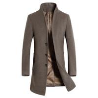gabardina de lana marrón para hombre al por mayor-Nueva sección larga de los hombres Trench Coat Moda Hombre de negocios Casual Collar de pie delgado Abrigo de lana Para Hombre Abrigo Marrón Negro Azul marino