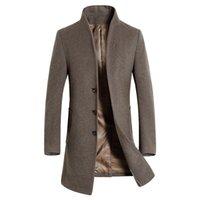 casacos marrons pretos venda por atacado-Trench Coat Nova Moda Longa dos homens de Negócios de Moda Casual Masculino Gola Magro Casaco De Lã Mens Casaco Marrom Preto Azul Marinho