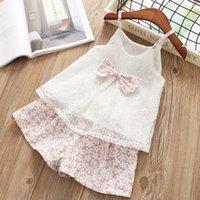 mavi çiçek şortu toptan satış-Toptan Tatlı çocuklar tasarımcı kıyafetleri kızlar Çiçek Dantel Kıyafetler Yaz Bow Dantel Tops ve kız bebek giysi tasarımcısı ayarlar 2adet Şort