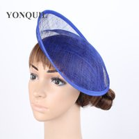 """Wholesale Diy Fascinator Hats - Free shipping royal blue or 12 COLOR 10"""" 25cm Solid Round Hat Handmade sinamay fascinator base DIY hair accessories 12pieces lot"""