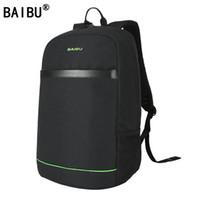 Wholesale laptops black red online - BAIBU Brand Men External USB Charge Backpack Male Mochila Escolar inch Laptop Backpack women Urban Backpack for teen