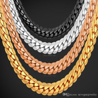"""Wholesale chunky yellow jewelry - 18K Real Gold Plated Necklace With """"18K"""" Stamp Men Jewelry Wholesale New Trendy Chunky Snake Chain Necklace 18''-26''"""