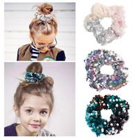 ingrosso corda per bambini-Mix 12 Baby Infant sirena paillettes Hairbands bambini anello capelli coda di cavallo capelli corda glitter copricapo cosplay bambini accessori per capelli