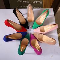 Wholesale Pink Ribbon Shoes - Wholesale-Plus Size Shoe Women Big Bow Tie Pumps Stiletto Women Shoe High Heels Suede Wedding Shoe Zapatos De Mujer