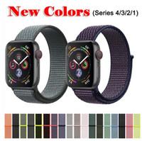 ingrosso orologi sportivi da 42 millimetri-Cinturino per Apple Watch Series 3/2/1 38 MM 42 MM Nylon Morbido e traspirante Cinturino di ricambio Sport Loop per serie iwatch 4 40MM 44MM