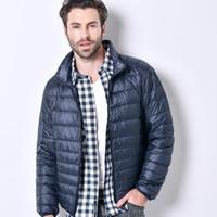 Wholesale puffer jacket men - Autumn Winter Parkas Mens Duck Down Puffer Jacket Feather Men Casual Coat Waterproof Ultra Light Parka Male Overcoat Jackets