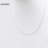 collar de cadena de plata de níquel al por mayor-BUDONG 40 cm / 45 cm Largo 925 Collar de Plata Esterlina para Las Mujeres 0.8 mm de Ancho de Plata Sólida Collar de Níquel-Cadena de Joyería Fina