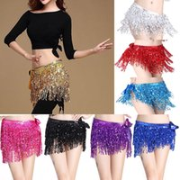 Wholesale belly dance black skirt - Belly Dance Dancer Costume Shine Sequins Tassel Fringe Hip Scarf Belt Waist Wrap Skirt Dancing Costume