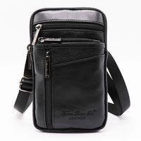 0767b037eb6d enuine Leather Mini Cross Body Bag Men s Shoulder Messenger Bags Male 7   Cell Phone Case Wallet Hip Bum Belt Waist Pack