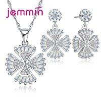 joyería de cristal blanco de la joyería fija al por mayor-Jemmin 925 joyería del trébol de plata esterlina de moda blanco cristal colgante collar pendientes para mujeres fiesta de bodas