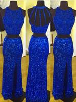robe bijou bleu côté fendu achat en gros de-Unique Concepteur De Bal De Longueur Robe De Soirée Bleu Royal En Tissu À Paillettes Sirène Deux Pièces Bijou De Cou Avec Fente Latérale Soirée Formelle Robe De Concours