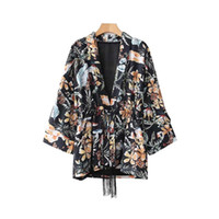 cuello en v tres mangas de manga tres cuartos al por mayor-Poliéster Mujeres Cuello en V Vintage Floral Kimono Abrigo Borlas Corbata Manga tres cuartos Mujer Casual Ropa de abrigo suelta Retro Tops