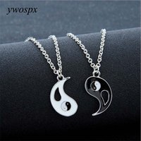 colar dos amantes de yin yang venda por atacado-YWOSPX 1 Pair Charme Amantes Colar Hot Yin Yang ColaresPendentes Preto Branco Casal Jóias Presentes Y40