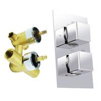 grifo de ducha cuadrado termostático al por mayor-Productos de calidad Square Handle Brass Thermostatic Shower Faucet Mixer Valve W / Anti Scald Feature 2 Perillas