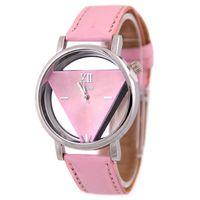 Wholesale transparent glass wrist watch - Fashion unisex women mens hollow leather roma design watch casual ladies students dress quartz triangle wrist transparent watch