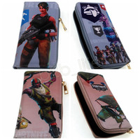 Wholesale multi games card - 2 styles Game Fortnite Battle Royale PU Zipper Wallet Purse Cartoon Action Figure Toys Card Bag for Kids Party Gift GGA564 10pcs