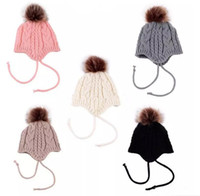Wholesale Toddler Girl Earflap Hat - INS Baby Girls Knitted Hats Ball Warm Ear Protection cap Warm Kids Baby Toddler Winter Earflap Hat Knitted Hats B11