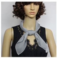 Wholesale plain white neckerchiefs resale online - New square men women solid georgetteSilk Scarf plain Silk Satin Scarves shawl wrap Neckerchiefs MM thick cm Unisex