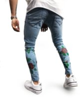Wholesale rose skinny jeans for sale - Mens Light Blue Pencil Jeans Rose Printed Skinny Denim Pants with Pockets Ripped Washed Street Style Pants