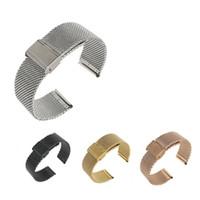 dicke silberne armbänder frauen großhandel-18 20 22 24mm Männer Frauen Silber Schwarz Gold Rose Gold 2.8mm Dicke Mesh-Milanese Schleife Stahlarmband-Armbanduhr-Band-Bügel-Gurt