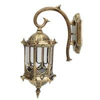 eski dış mekan lambaları toptan satış-Mayitr Retro Lamba Duvar Işık Vintage Kaplama Endüstriyel Lamba Armatür Alüminyum Cam Fener Açık Bahçe LED Duvar