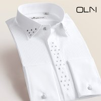 Wholesale Hooded Wedding Dresses - 2017 New Fashion Men Dress Shirts Long Sleeve Men's Tuxedo Shirts Male Wedding Shirts for Men Plus Size