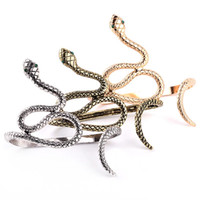 Wholesale armband jewelry women for sale - Group buy Egypt Cleopatra Opened Spiral Snake Punk Hand Palm Cuff Armlet Armband Bangles Vintage Bracelet Cuff Jewelry For Women colors