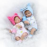 muñeca blanda de china al por mayor-2017 Gemelos Bebe Renace 42 cm Muñecas Renacidas de Silicona Realistas Juguetes para Bebés Recién Nacidos Soft Touch Bebe Juguetes Bonecas Renacer De Silicona
