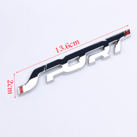 siyah krom araba toptan satış-1 adet Araba Styling Metal 3D Krom Gümüş / Siyah Oto Araba Yarışı SPOR Kelime Mektup Logo Amblem Rozet Decal Sticker aksesuarları