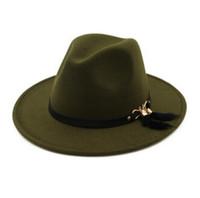 New Fashion cappelli per uomo donna Elegant fashion Solid feltro Fedora Hat  Band Wide Flat Cappellino Jazz Cappelli Trilby Panama da142c56e8cf