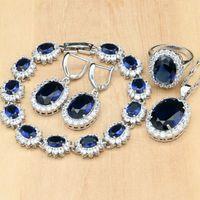 brincos brancos jóias de fantasia venda por atacado-925 Sterling Silver Bridal Jewelry Azul Zircon Branco CZ Conjuntos de Jóias Traje Para As Mulheres Brincos / Pingente / Colar / Anéis / Pulseira
